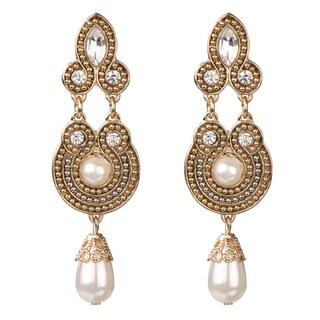 Brass Rhinestone Pearl Bead Dangle Earrings