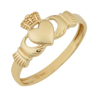 Fremada 14k Yellow Gold High Polish Claddagh Ring