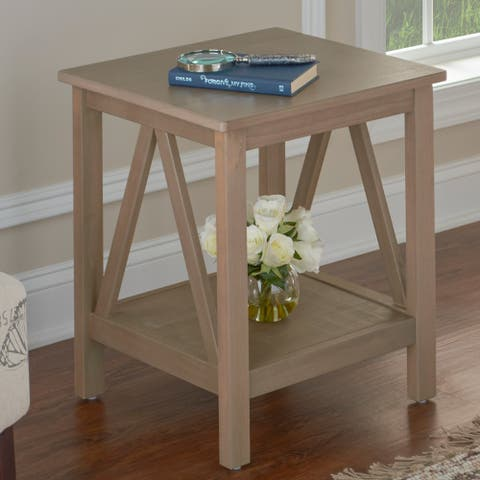 Linon Elaine Driftwood End Table