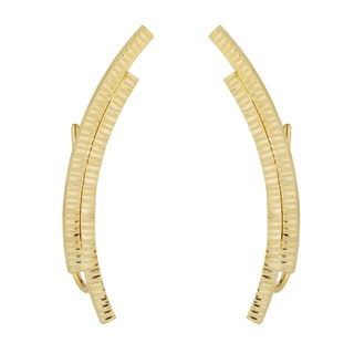 Fremada 10k Yellow Gold Diamond-cut Double Curve Climber Earrings