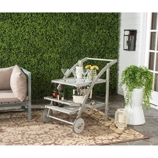 Safavieh Outdoor Living Lodi Grey Wash/Beige Tea Cart