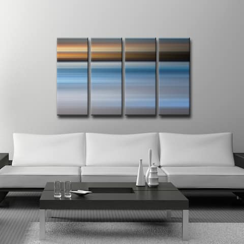 Blur Stripes XLIII' 4-Piece Wrapped Canvas Wall Art Set