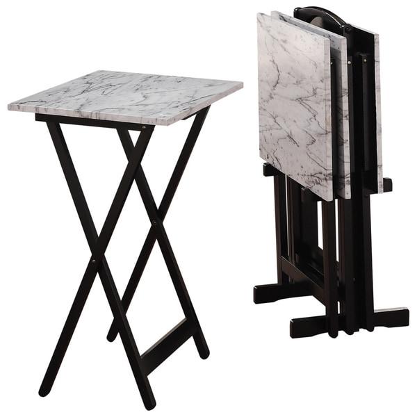Linon Gina Tray Table Set   White   Free Shipping Today   Overstock.com    18021061