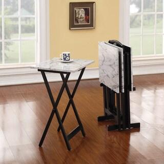 Linon Gina Tray Table Set   White