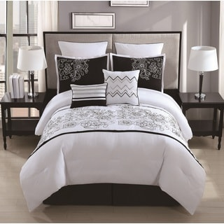 Saldana 8 Piece Rose Embroidered Comforter Set