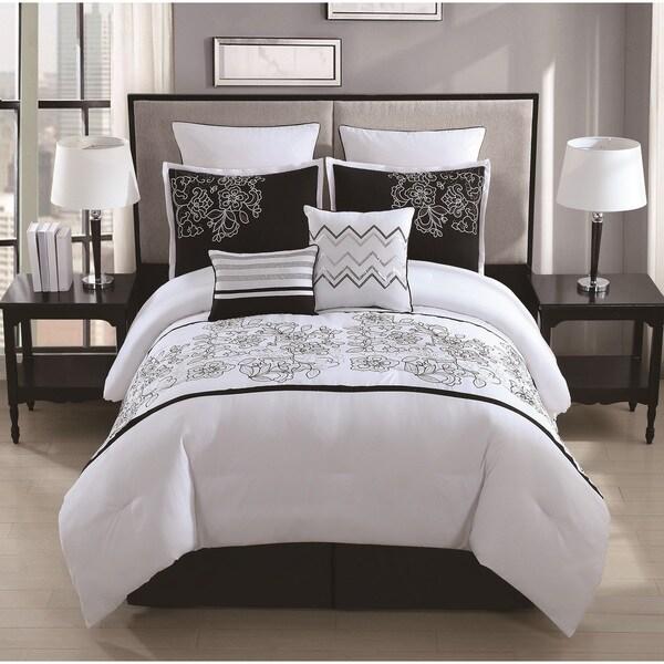 Saldana 8 Piece Rose Embroidered Comforter Set