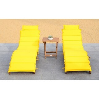 Safavieh Outdoor Living Pacifica Teak Brown/ Yellow Piece Lounge Set