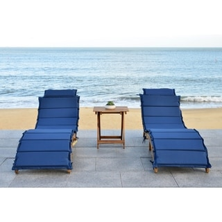 Safavieh Outdoor Living Pacifica Teak Brown/ Navy Piece Lounge Set