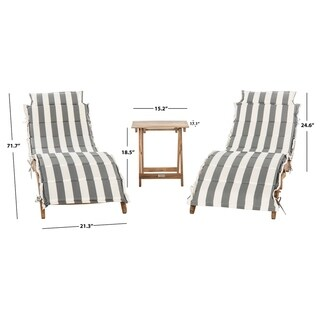 Safavieh Outdoor Living Pacifica Teak Brown/ Grey & White Piece Lounge Set