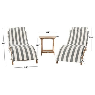 Safavieh Outdoor Living Pacifica Teak Brown/ Grey U0026 White Piece Lounge Set