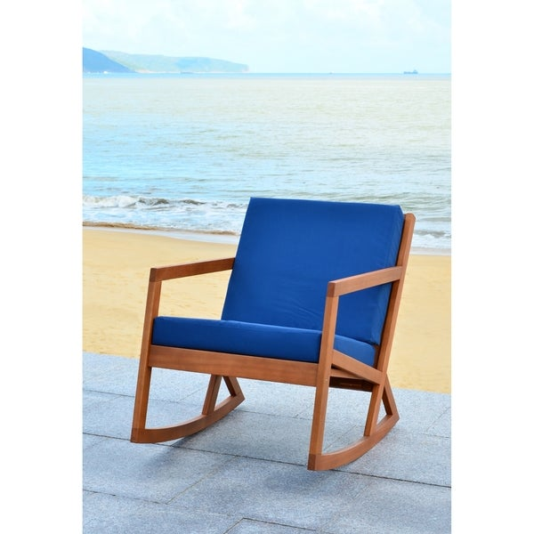 Exceptional Safavieh Outdoor Living Vernon Brown/ Navy Rocking Chair