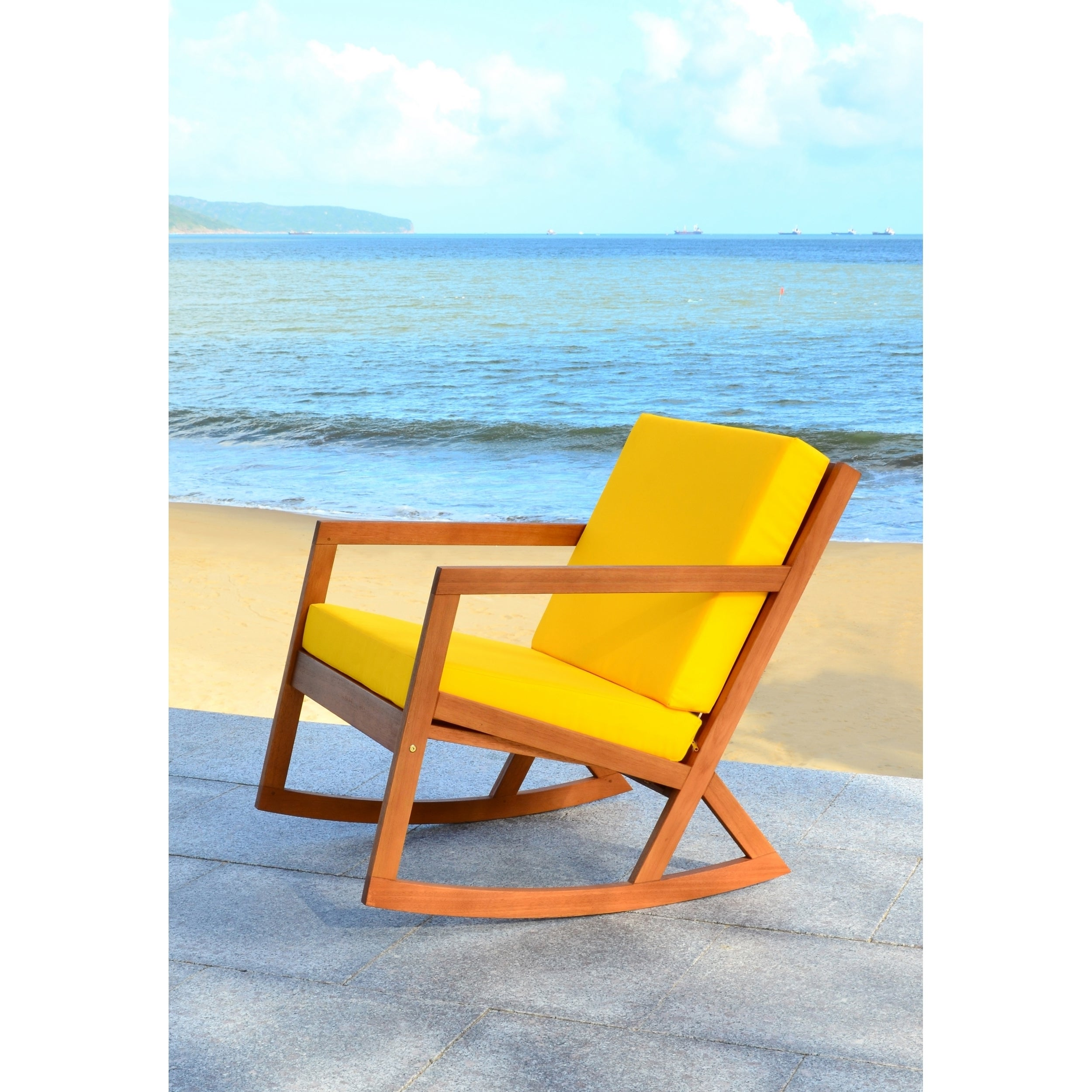 Safavieh Outdoor Living Vernon Brown Yellow Rocking Chair
