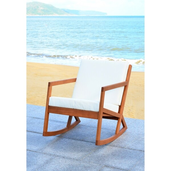 Safavieh Outdoor Living Vernon Brown/ Beige Rocking Chair