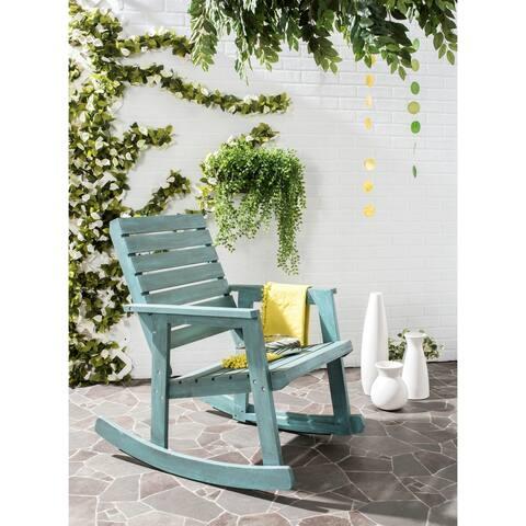 Safavieh Outdoor Living Alexei Beach House Blue Rocking Chair