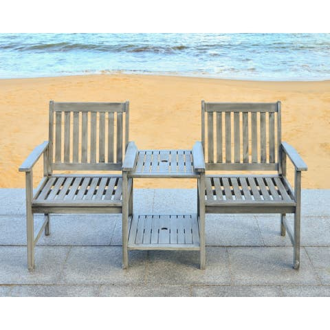 "Safavieh Outdoor Living Brea Grey Twin Seat Bench - 23.8"" x 65"" x 35.4"""