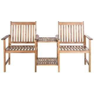 "Safavieh Outdoor Living Brea Brown Twin Seat Bench - 23.8"" x 65"" x 35.4"""