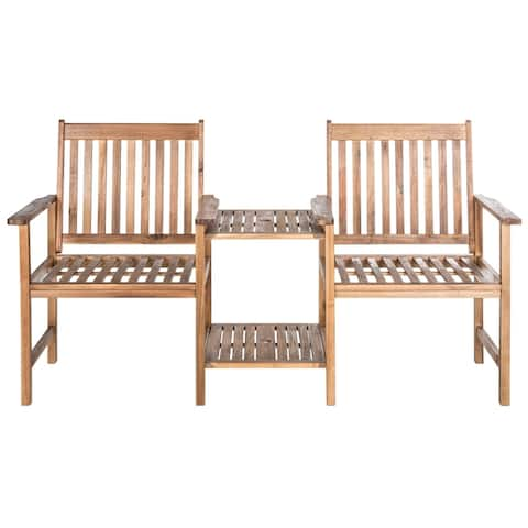 "Safavieh Outdoor Living Brea Brown Twin Seat Bench - 23.8"" x 65"" x 35.4"""