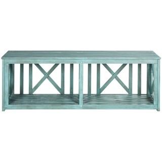 Safavieh Outdoor Living Branco Beach House Blue Storage Bench