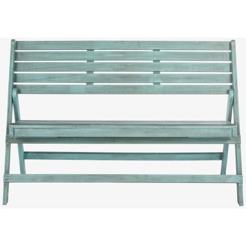 "Safavieh Outdoor Living Luca Beach House Blue Folding Bench - 48"" x 23.6"" x 31.5"""
