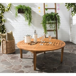 safavieh outdoor living danville teak brown round table