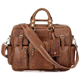 Vicenzo Leather Signature Full Grain Leather Laptop Briefcase (2 options available)