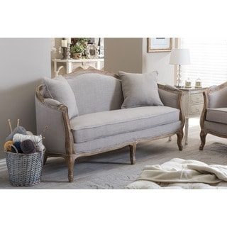 Baxton Studio Corneille French Country Weathered Oak Beige Linen  Upholstered 2 Seater Sofa