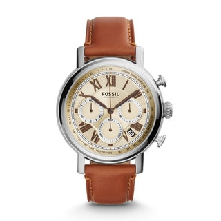 Fossil Men's FS5117 Buchanan Chronograph Beige Dial Brown Leather Watch