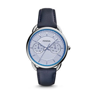 Fossil Women's ES3966 Tailor Multi-Function Silver Dial Blue Leather Watch