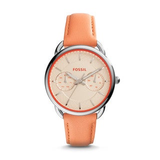 Fossil Women's ES3952 Tailor Multi-Function White Dial Papaya Leather Watch
