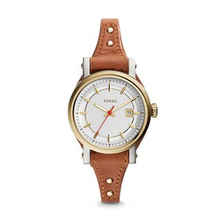 Fossil Women's ES3949 Mini Original Boyfriend Silver Dial Brown Leather Watch