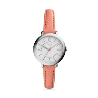 Fossil Women's ES3938 Mini Jacqueline Silver Dial Pink Leather Watch