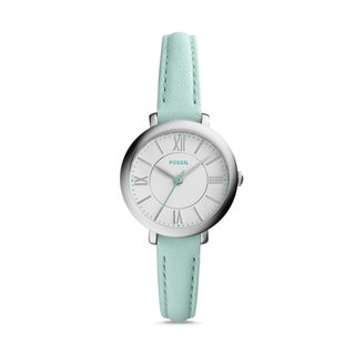 Fossil Women's ES3936 Mini Jacqueline Silver Dial Sea Green Leather Watch