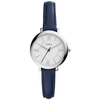 Fossil Women's ES3935 Mini Jacqueline Silver Dial Blue Leather Watch
