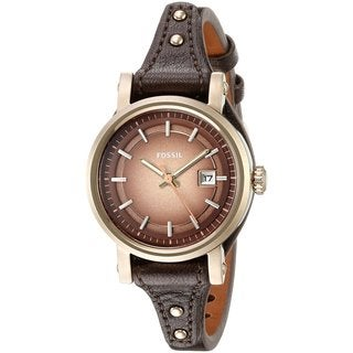 Fossil Women's ES3910 Original Boyfriend Brown Dial Brown Leather Watch