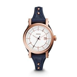Fossil Women's ES3909 Original Boyfriend Silver Dial Midnight Blue Leather Watch