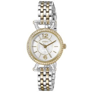 Fossil Women's ES3895 Georgia Cordell Silver Dial Two-Tone Stainless Steel Bracelet Crystal Accented Watch