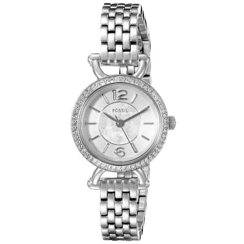 Fossil Women's Georgia Cordell Silver Dial Stainless Steel Bracelet Crystal Accented Watch