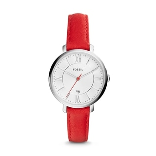 Fossil Women's ES3926 Jacqueline Analog White Dial Red Leather Watch