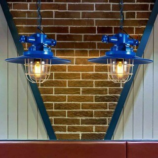 Revine 1-light Blue 12-inch Edison Chandelier with Bulb