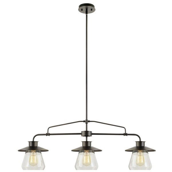 Angela 3 Light Black Steel 40 Inch Edison Chandelier With Bulbs