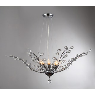 Arianna 8-light Chrome 38-inch Crystal Leaves Pendant