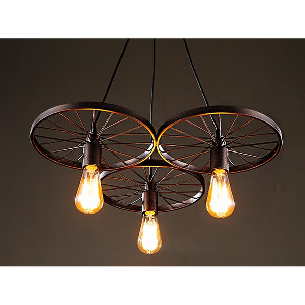 Serapiko 3-light Antique Bronze 20-inch Edison Chandelier with ...