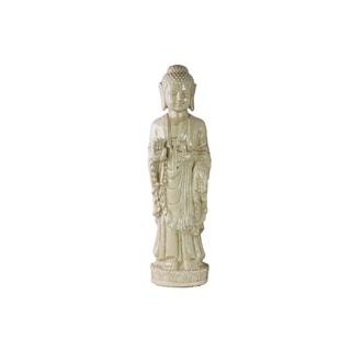 Yellow Ceramic Standing Vitarka Mudra Buddha Figurine with Rounded Ushnisha
