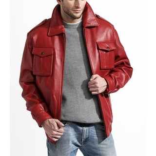 Men's Red Lambskin Leather Bomber Jacket