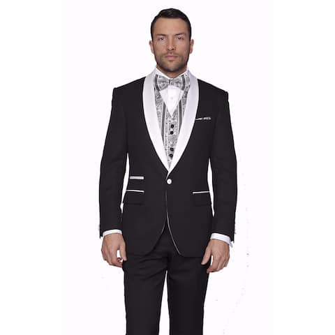 Men's Capblack Wool Statement 3-piece Tuxedo Suit