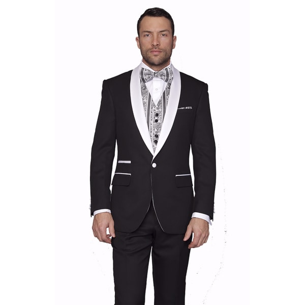 Mens Capblack Wool Statement 3-piece Tuxedo Suit