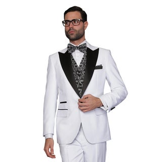 Men's Natalie White Wool 3-piece Statement Tuxedo Suit