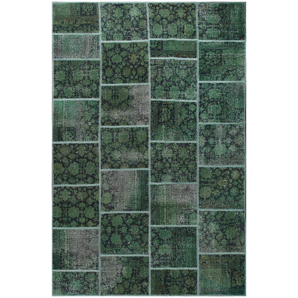 Shop ABC Accent Vintage Patchwork Overdyed Green Wool Rug