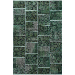 ABC Accent Vintage Patchwork Overdyed Green Wool Rug (7' x 10')