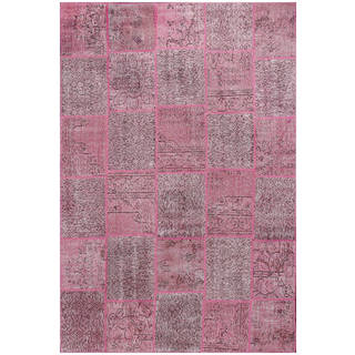 ABC Accent Vintage Patchwork Overdyed Pink Wool Rug (7' x 10')